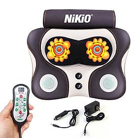 Máy (gối) massage đấm và xoa bóp lưng cổ vai gáy Nikio NK-136AC - Dùng được trên ô tô, 3 chế độ mát xa hỗ trợ trị đau nhức mỏi
