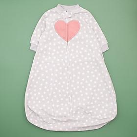 túi ngủ màu xám hình trái tim cho bé