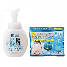 Bộ sản phẩm làm sạch dưỡng trắng Hada Labo (Bọt rửa mặt 160ml + Mặt nạ 30 miếng)