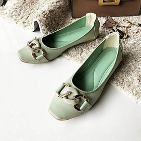 Giày búp bê nữ Thái Lan đế bằng đính nơ khóa Emerald thời trang, nhẹ mềm êm chân dễ dàng di chuyển và phối đồ - màu xanh bạc hà