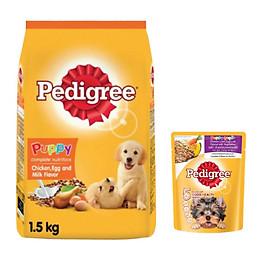 Combo thức ăn cho chó con Pedigree 1,5kg vị gà,trứng và sữa + sốt chó con Pedigree 80g vị gà,gan,trứng và rau