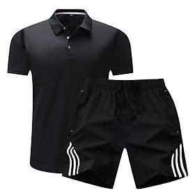Bộ quần áo thể thao nam cổ bẻ, chất liệu polyeste ít thấm nước, phù hợp trong các phòng tập