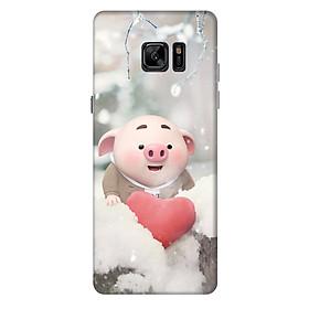 Ốp lưng nhựa cứng nhám dành cho Samsung Galaxy Note FE in hình Heo Con Mùa Đông