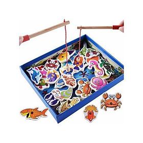 Bộ đồ chơi câu cá nam châm bằng gỗ 32 chi tiết tặng kèm thước đo chiều cao cho bé