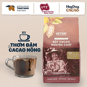 Heyday Bột Cacao Nguyên Chất Không Đường Việt Nam - Dòng Origin - Chứng Nhận UTZ - Hỗ Trợ Giảm Cân - Túi Giấy 250g