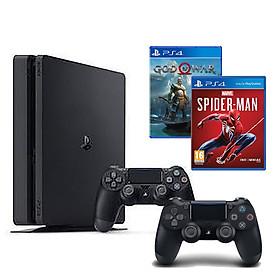 Bộ Playstation 4 Slim Model 2218B ( 1000gb) Tặng Kèm 2 Đĩa Game Spider-man Và Godofwar 4 + 1 Tay Cầm Thêm - Hàng Chính Hãng