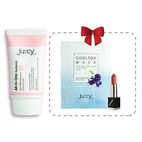 (MUA 1 ĐƯỢC 3) Mua kem chống nắng trắng da Hàn Quốc Jucy All In One được tặng 1 Son lì Không Chì Hàn Quốc Jucy La Beaute' và 1 Mask Hàn Quốc Jucy