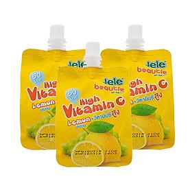 Nước trái cây Jele Beautie Thạch Vitamin C Chanh (3 gói x 150g)