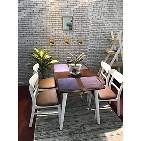 bộ bàn ăn mango trắng nâu 4 ghế