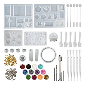 142pcs Resin Casting Molds Kit Silicone Jewelry Making DIY Pendant Craft Moulds