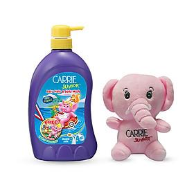 Sữa tắm gội cho bé Carrie Junior Tinh chất sữa 700g + Voi bông (màu ngẫu nhiên)
