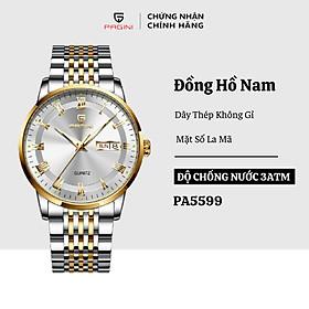 Đồng Hồ Nam Cao Cấp Chính Hãng Pagini Pa5599 Dây Thép Không Gỉ - Chống Nước 3ATM - Hiển Thị 2 Lịch Đẳng Cấp