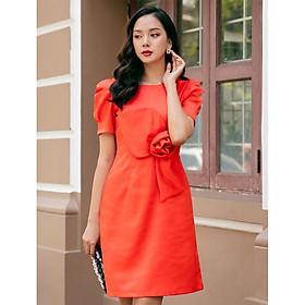 Đầm suông tay phồng đính hoa eo màu cam nổi bật đi làm   đi tiệc đều sang