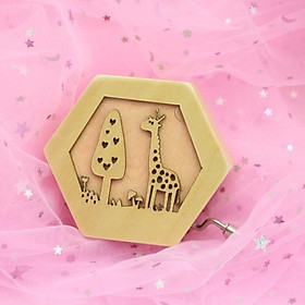 (Toponeto) Music box Hand Crank Musical Box Carved Wooden Music Toys Music Gift