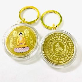 Móc Khóa Xu Phật A Di Đà Và Các Vị Bồ Tát In Màu Dùng để trang trí chìa khóa, tăng thêm tính thẩm mỹ, bảo vệ về tâm linh, kích thước 5cm, màu vàng - TMT Collection - SP005277