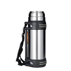 Nồi giữ nhiệt quai xách đi du lịch chân không THERMOS CUP 2000ml (Silver Black)