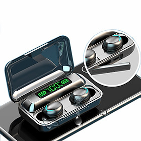 Tai nghe Blutooth 5.0 kiêm dock sạc dự phòng- Màn hình Led thể hiện mức pin cho dock và tai nghe-Nhỏ gọn,thời trang