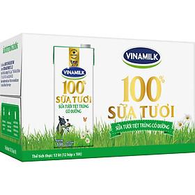 Thùng 12 Hộp Sữa Tươi Tiệt Trùng Vinamilk 100% Có Đường (1L)