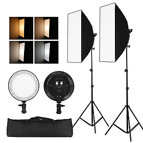Professinal Studio Photography Softbox LED Light Kit Including 50*70cm Softboxes 45W Bi-color Temperature 3200K-6400K