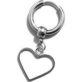 Bông tai nam khoen tròn hình trái tim rỗng sytle Unisex
