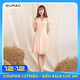Đầm nữ GUMAC DA1001 thiết kế cổ V xếp bèo