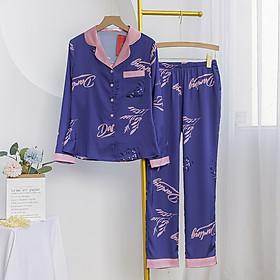 Bộ đồ mặc nhà mặc ngủ mùa thu đông chất liệu lụa cao cấp kiểu dáng pijama tay dài quần dài có túi 2 bên họa tiết darling phối hồng nền tím đậm sang trọng thanh lịch H282