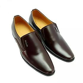 Giày Da Màu Nâu Đế Khâu, Mang Êm Chân