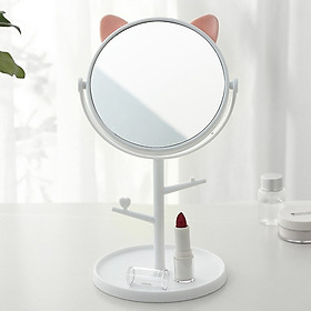 Gương Tai Mèo Để Bàn Trang Điểm Xoay 1 Mặt 360 Độ - TẶNG BỘ CỌ TRANG ĐIỂM