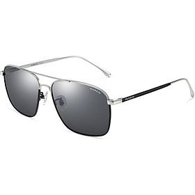 PARZIN classic double beam fashion polarized sunglasses male texture metal driving sunglasses male 8174A silver frame black gray piece