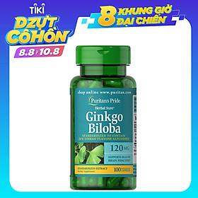 Thực Phẩm Chức Năng - Viên Uống Tuần Hoàn Não Puritan'S Pride Premium Herbal Sure Ginkgo Biloba 120Mg (100 Viên)