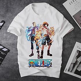 Áo thun Nam Nữ Không cổ ONEPIECE CẶP ĐÔI LỬA BĂNG  MSOP-25 mẫu mới cực đẹp, có size bé cho trẻ em / áo thun Anime Manga Unisex Nam Nữ, áo phông thiết kế cổ tròn basic cộc tay thoáng mát