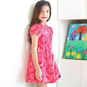 Đầm Bé Gái KIKA Thun Đỏ Hoa Tuyết K082