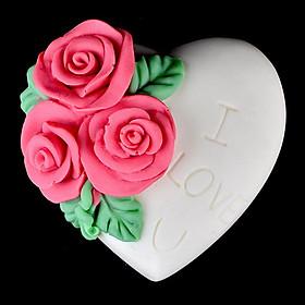 Khuôn rau câu silicon hình tim hoa hồng