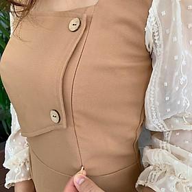 Váy sau sinh có khóa cho con bú, đầm dáng A chiết eo cổ U tay dài cho con ti tiện lợi, chất liệu mềm đẹp, hàng sẵn.