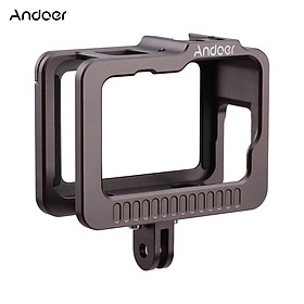 Andoer Camera Cage Camera Housing Case with Removable Back Door Double Cold Shoes Replacement for GoPro 9 Black Action