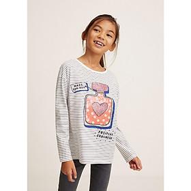 Áo thun tay dài họa tiết hình mặt trước Mango Blush cho bé gái – 33035739