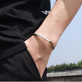 Vòng tay nam nữ trơn inox bản 4mm thời trang