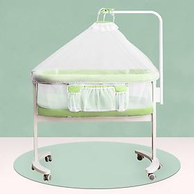 Giường Cũi kề giường em bé đa chức năng, gấp gọn, có bánh xe và màn