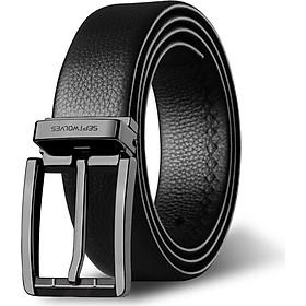 Seven wolves men's belt business casual top layer leather pin buckle belt belt men 7A528111900-09 black