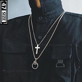 Vòng cổ dây chuyền nam nữ phối hình mặt thánh giá - hình mặt bàn tay, thời trang phong cách cá tính hiphop, siêu độc đáo