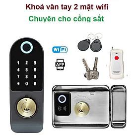 Khóa  Thẻ Từ - 2 MẶT VÂN TAY DÙNG APP ( mở từ xa bằng điện thoại, vân tay, mã số, thẻ từ và remote)
