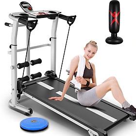 Máy tập chạy bộ đi bộ cơ không cần điện đa năng tặng kèm 04 món - Trụ đấm bốc hơi + giá đỡ tập cơ bụng + bàn xoay eo + dây kéo co giãn tập cơ tay