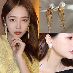 Bông tai ngọc trai tua dài vàng