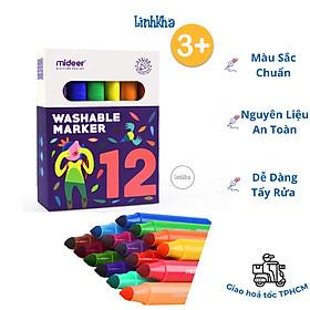 Bút Lông Màu Nguyên Liệu An Toàn Dễ Dàng Tẩy Rửa hiệu Mideer 12 màu - Mideer washable marker