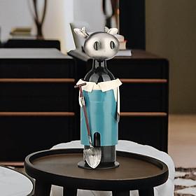 Idyllic Cow Wine Rack Vintage Pickup Cow Wine Bottle Holder Statue or Decorative Wine Holder - Sky Blue