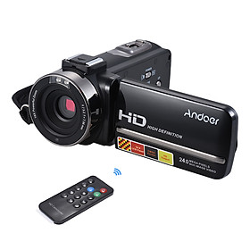 Máy Quay Video Kỹ Thuật Số Di Động Andoer HDV-3051STR Với Màn hình Cảm Ứng LCD Cho Micro Ngoài (24MP 1080P 16X 3.0)