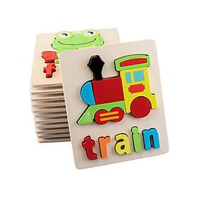 Tranh ghép gỗ hình và chữ nổi 3D hình con vật và phương tiện giao thông, gỗ tự nhiên, loại dày, màu sắc đẹp, hàng cao cấp, đồ chơi gỗ giáo dục dành cho bé từ 3 tuổi - Giao hàng ngẫu nhiên
