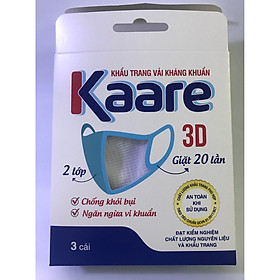 Hộp 3 cái, khầu trang Kaare, kháng khuẩn, có van thở, sử dụng 20 lần
