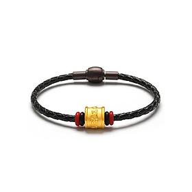 Vòng tay dây da Hột trụ Chú bình an vàng 24k - Ancarat