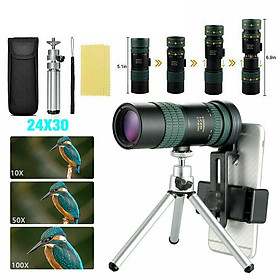 8-24x30mm Monocular Astronomical Telescope Super Telephoto Zoom With Tripod Clip Set Hd Night Vision
